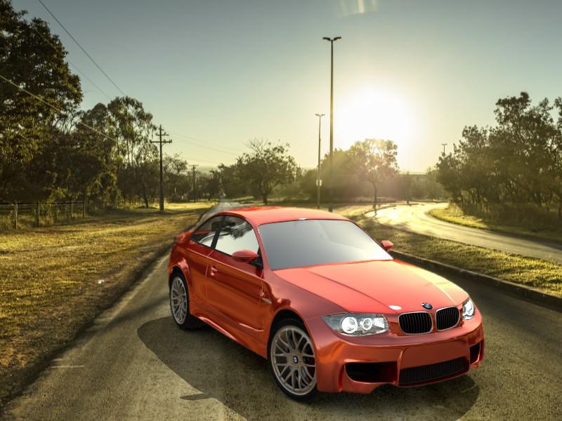 der BMW mit allen Real-Effketen (Reflektion, Backplate, Beleuchtung)