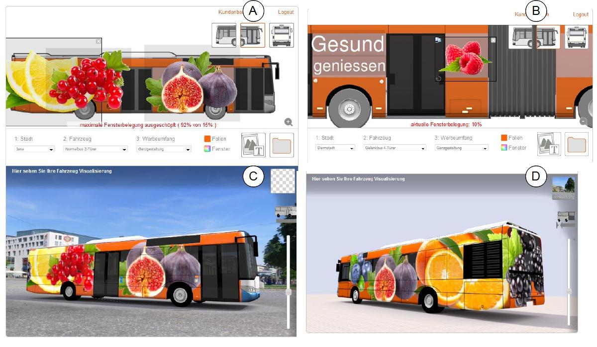 der 2D und 3D Bereich des Buskonfigurators