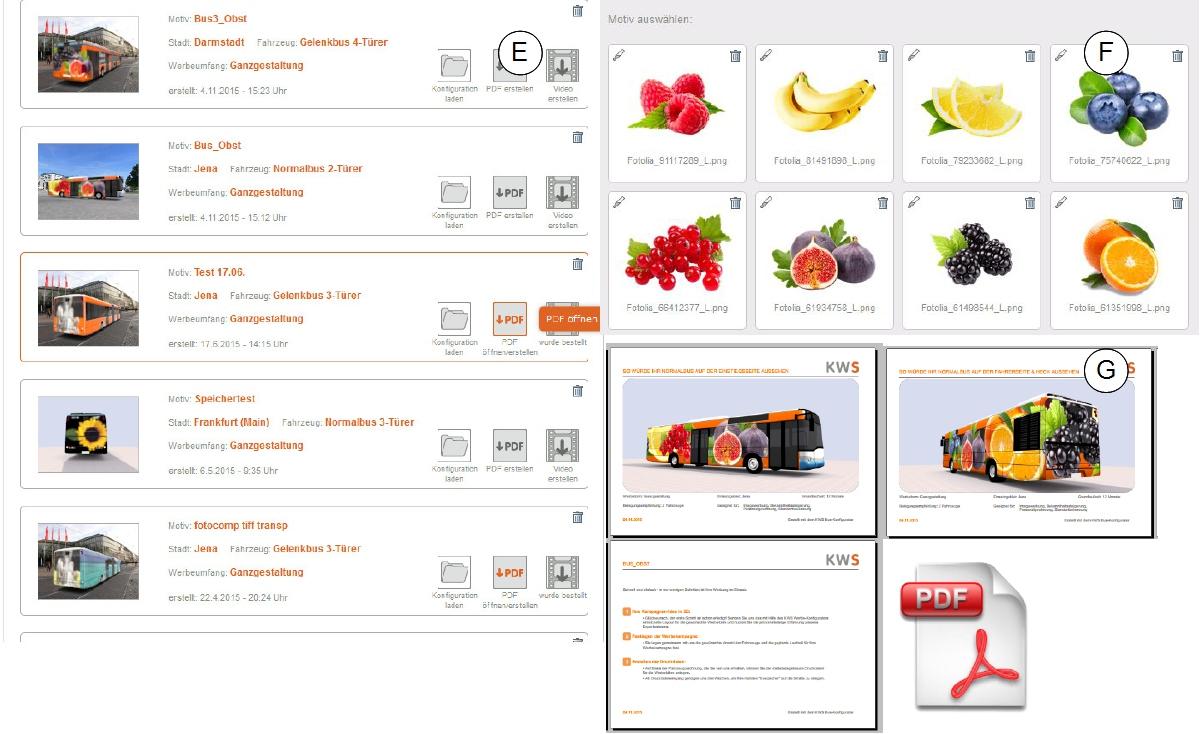 Speicher der Konfigurationen, Motivauswahl und PDF-Export