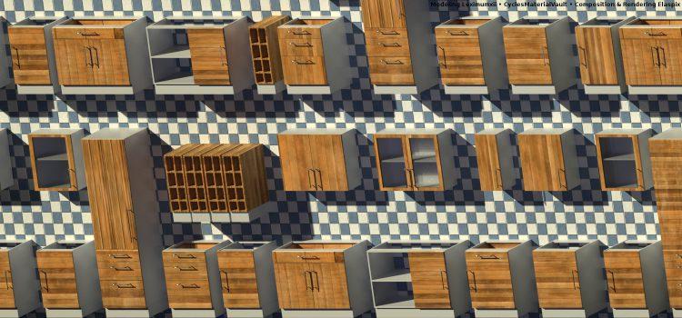 Holzregale auf Fliesenboden