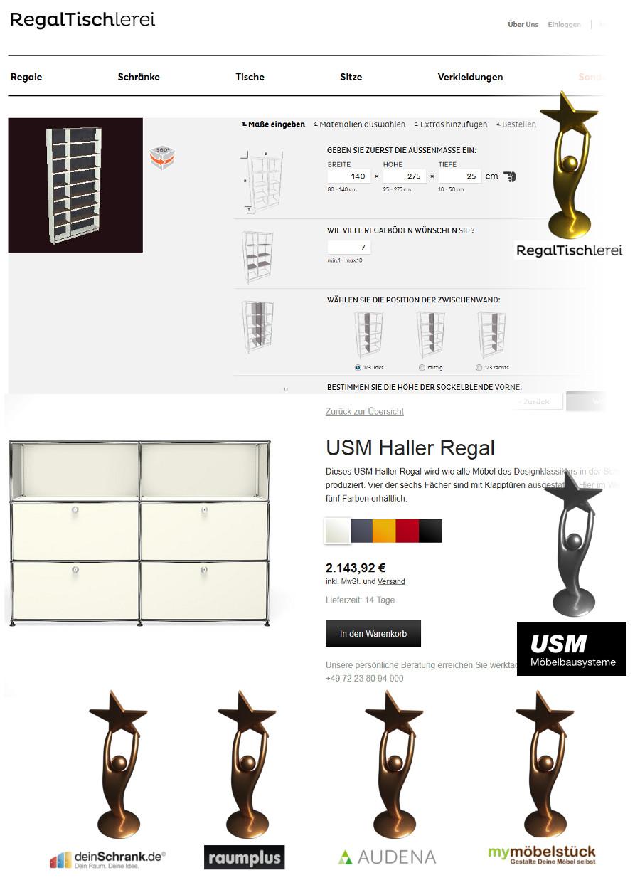 Bildquelle (Screenshot der Konfiguratorseite bzw. Logos): Regaltischlerei, USMHaller, deinSchrank.de Audena, Raumplus