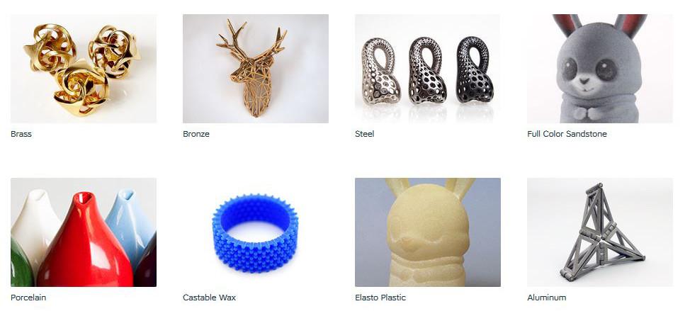 Shapeways Materialien (8 von 16 angebotenen Materialien für 3D Printing)