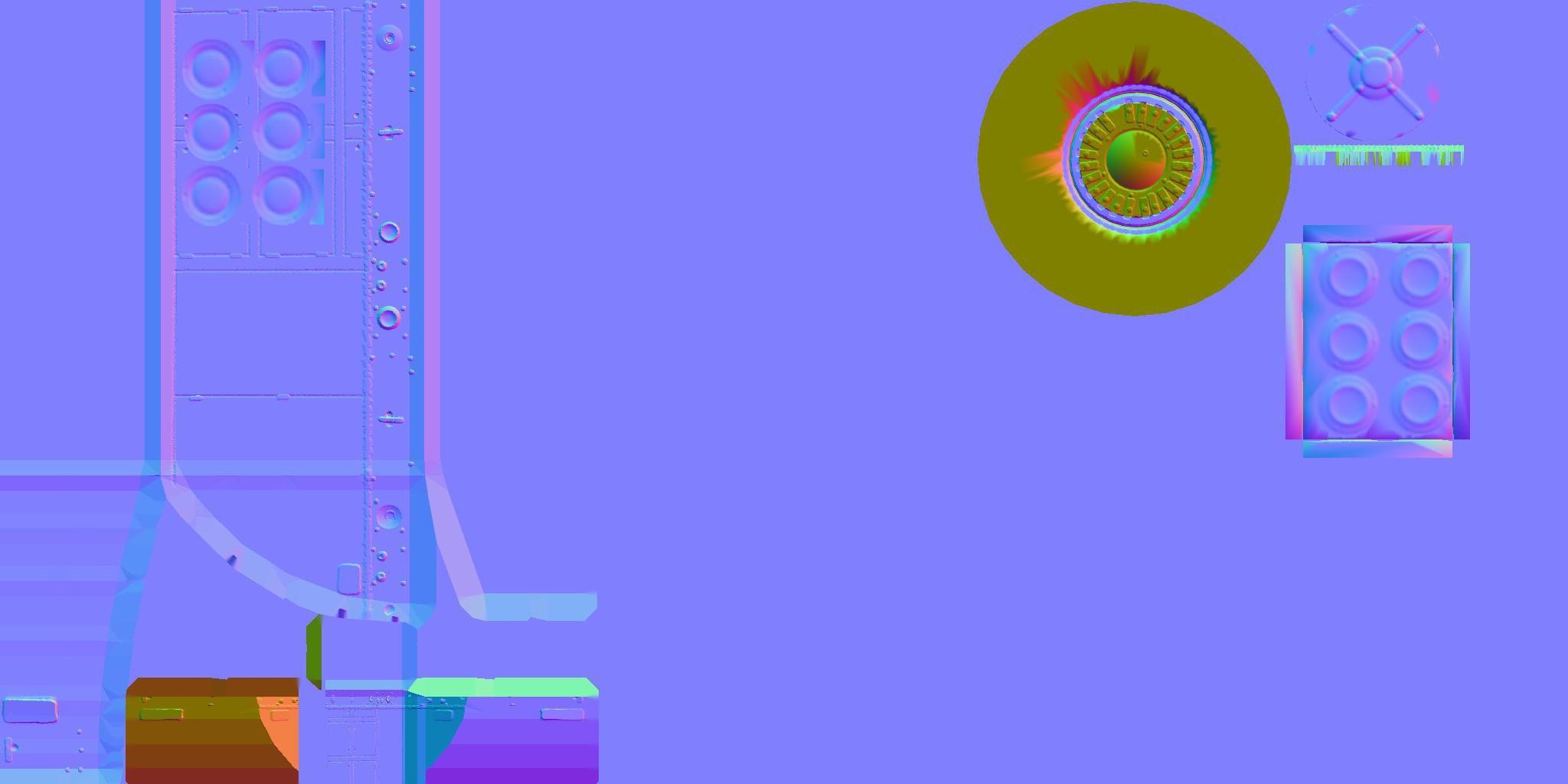 Die Normal-Map zur Maniupulation von Flächennormalen (wurde gebacken von einem High-Poly-Modell).